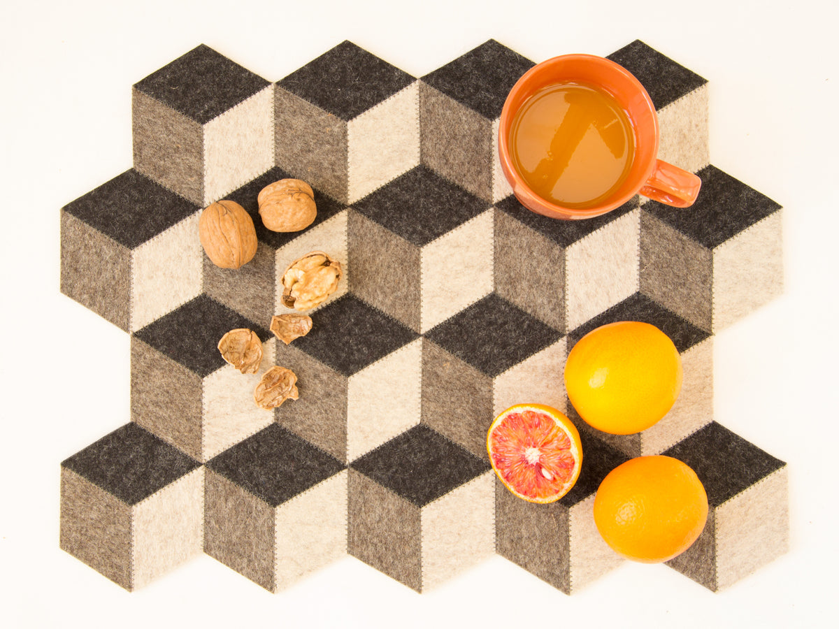 """QB"" LARGE TABLE MAT / PLACEMAT - Dark Grey"
