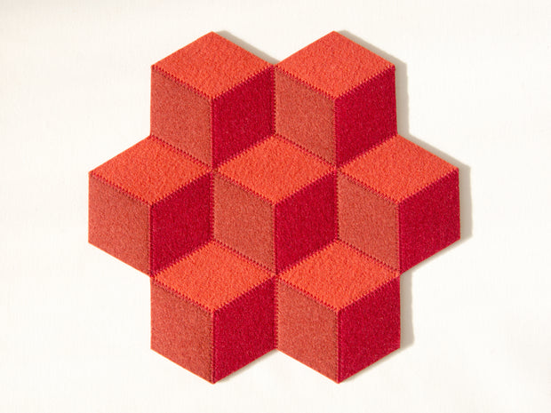 """QB"" SMALL TABLE MAT - Orange & Red"