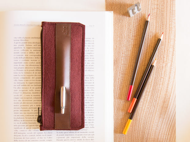 FELT AND LEATHER PENCIL CASE - Maroon/Brown