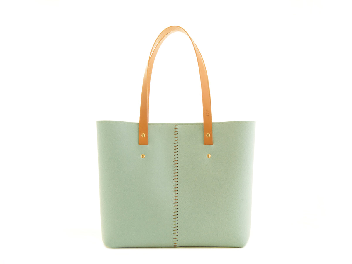FRONT STITCHING TOTE BAG - Turquoise