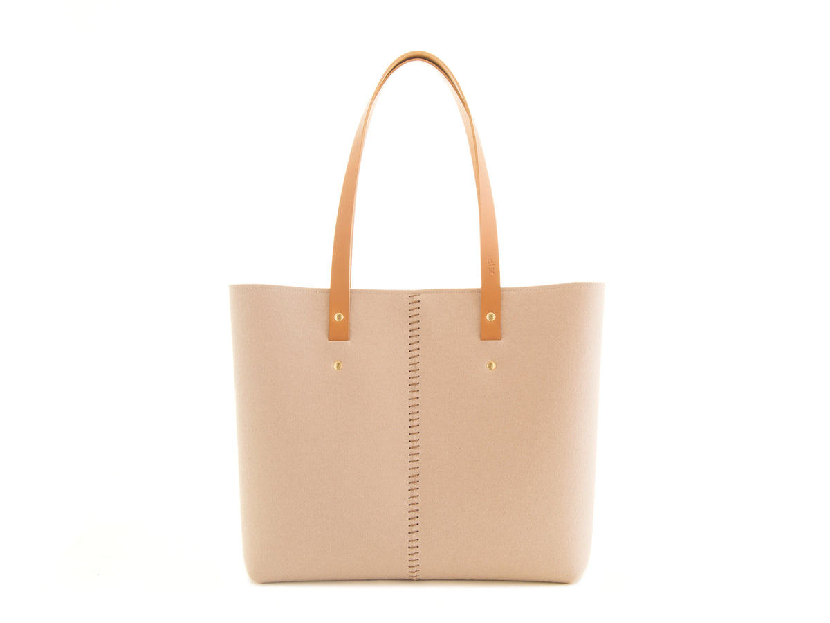 FRONT STITCHING TOTE BAG - Almond