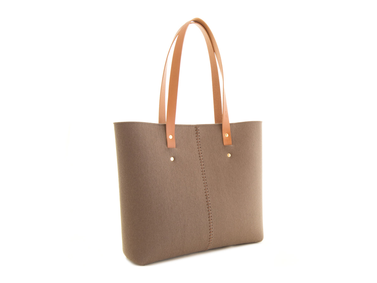 FRONT STITCHING TOTE BAG - Taupe