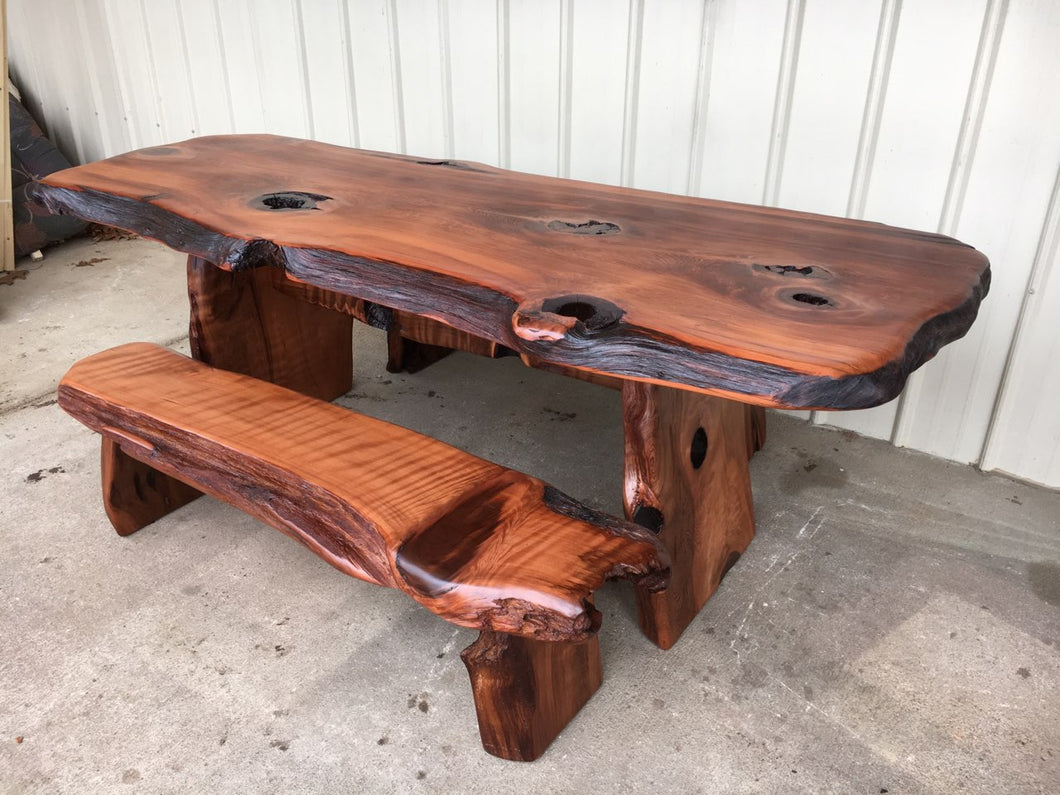Old Growth Redwood Picnic Style Dining Set