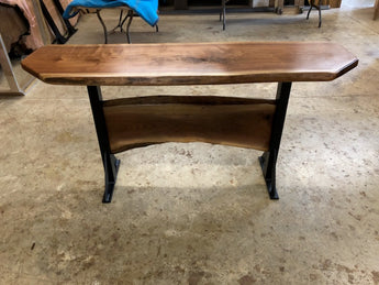live edge walnut sofa table