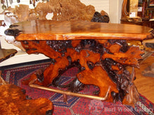 Redwood Root slab Bar, burl redwood top