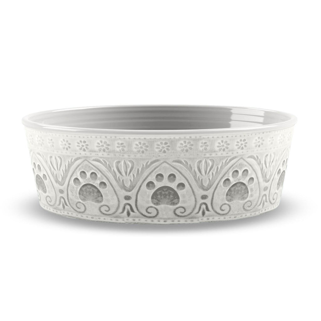 Paw Print Natural Pet Bowl-Medium