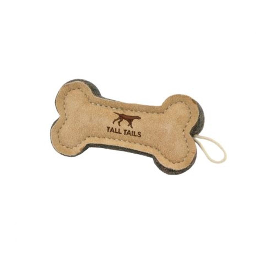 Natural Leather & Wool Bone Dog Toy