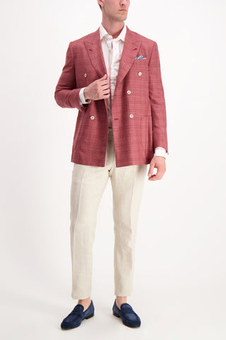 Full Body Image Of Model Wearing Isaia Long Sleeve Pink/Grey Wide Stripe Dress Shirt