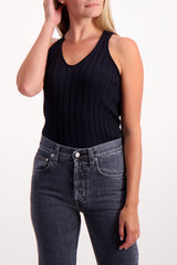 Front Crop Image Of Model Wearing Helmut Lang Fine Wool Rib Tank Black