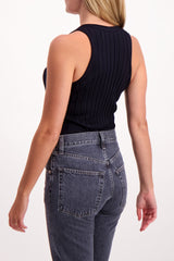 Back Crop Image Of Model Wearing Helmut Lang Fine Wool Rib Tank Black
