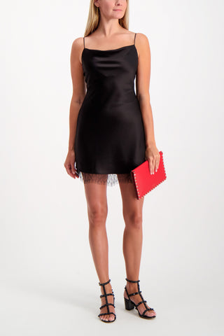Full Body image Of Model Wearing Alice & Olivia Women's Harmony Mini Slip Dress Black