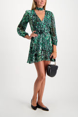 Full Body Image Of Model Wearing Alice & Olivia Women's Rita Mock Neck Dress