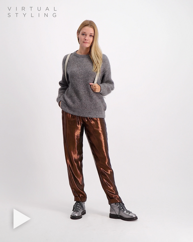 Silk Lurex Pant Chocolate