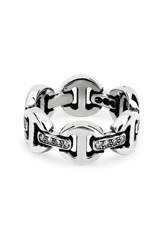 Brute Classic Tri-Link With White Diamond Bridges Ring