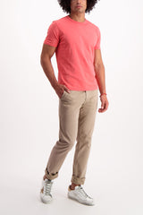 Full Body Image Of Model Wearing AG Lux Khaki Chino Wheat