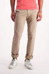 Front Crop Image Of Model Wearing AG Lux Khaki Chino Wheat