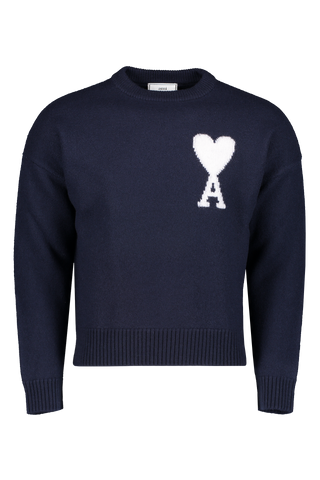 Front view image of AMI Men's Oversize Crewneck Felted Sweater