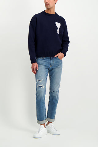 Full Body Image Of Model Wearing AMI Men's Oversize Crewneck Felted Sweater