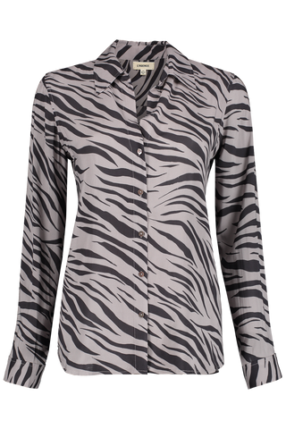 Front view image of L'AGENCE Long Sleeve Nina Blouse Atticus Zebra