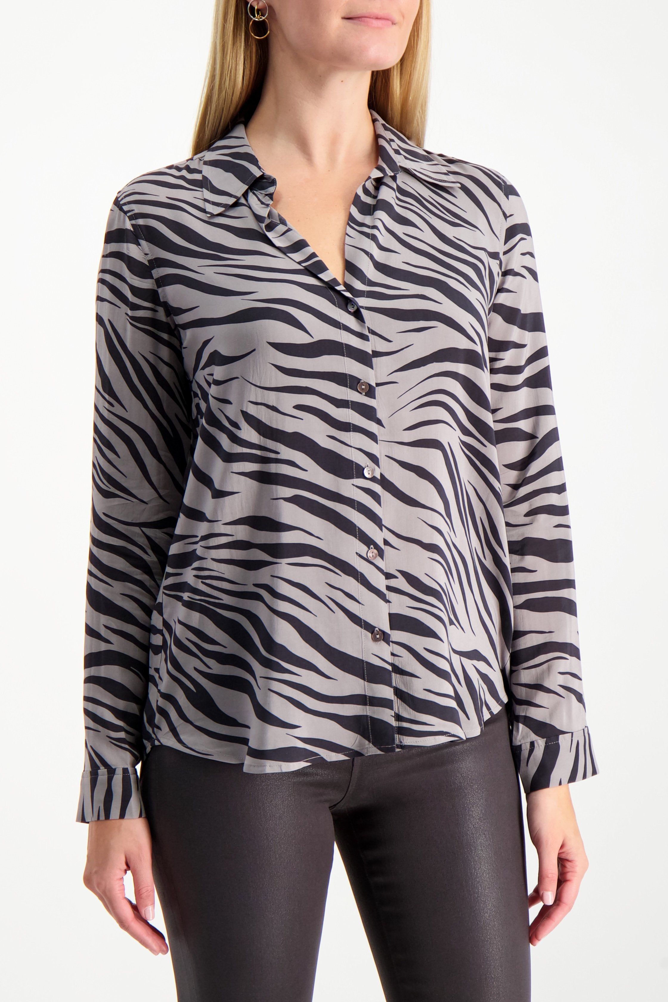Front Crop L'AGENCE Long Sleeve Nina Blouse Atticus Zebra