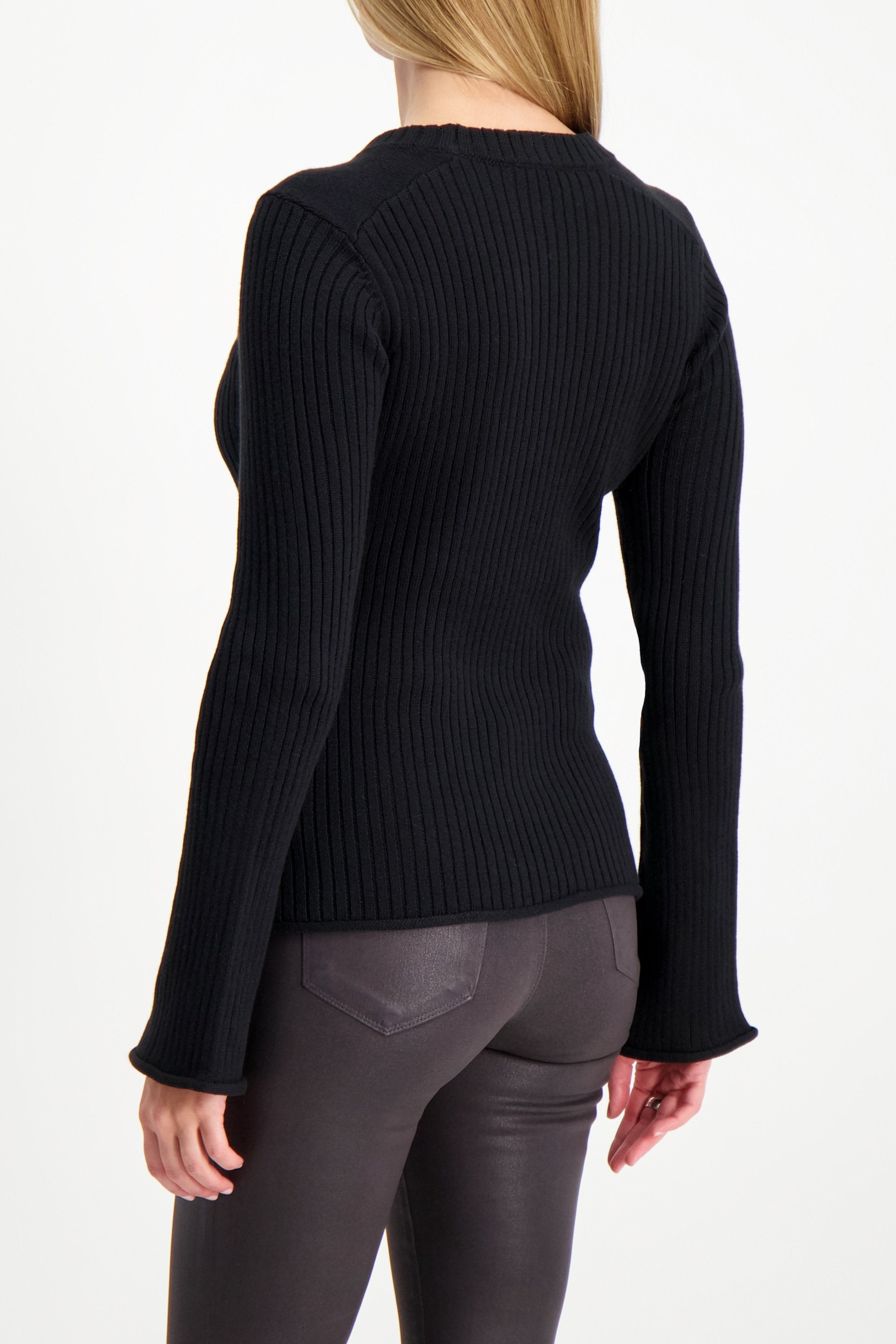 Back Crop Image Of Model Wearing L'AGENCE Pasha Sweater Black