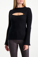 Front Crop Image Of Model Wearing L'AGENCE Pasha Sweater Black