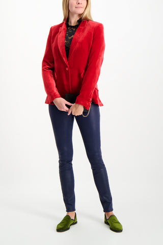 Full Body Image Of Model Wearing L'agence Chamberlain Blazer Barbados Red