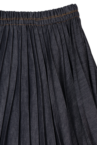 Asymmetrical Pleated Denim Skirt