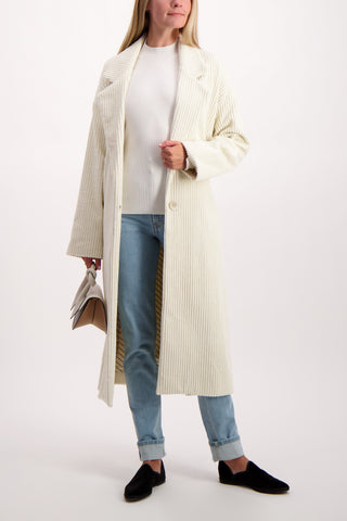 Full Body Image Of Model Wearing Each X Other Oversized Corduroy Coat