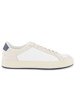 Side view image of Common Projects Men's Retro Low Sneaker White/Navy