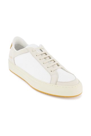 Front angled view image of Common Projects Men's Retro Low Sneaker White/Yellow