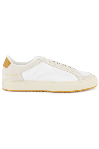 Side view image of Common Projects Men's Retro Low Sneaker White/Yellow