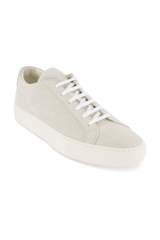 Front angled view image of Common Projects Men's Achilles Suede Contrast Sneaker Off White