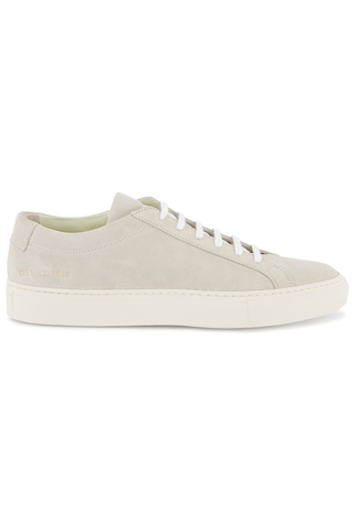 Side view image of Common Projects Men's Achilles Suede Contrast Sneaker Off White