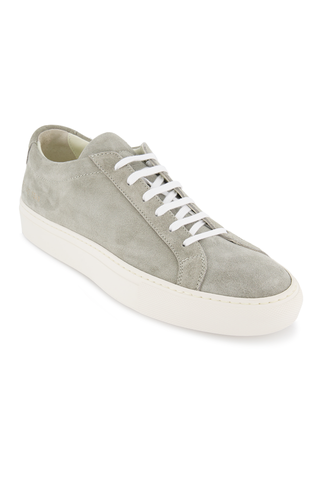 Front angled view image of Common Projects Men's Achilles Suede Contrast Sneaker Grey