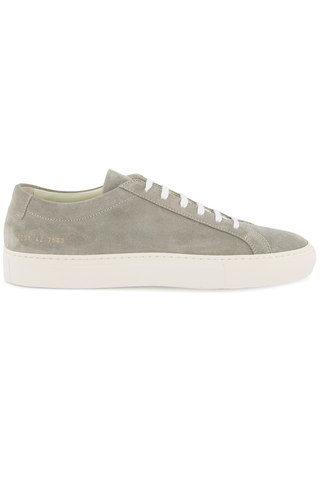 Side view image of Common Projects Men's Achilles Suede Contrast Sneaker Grey