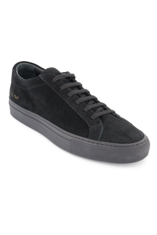 Front angled view image of Common Projects Men's Original Achilles Low Suede Sneaker Black