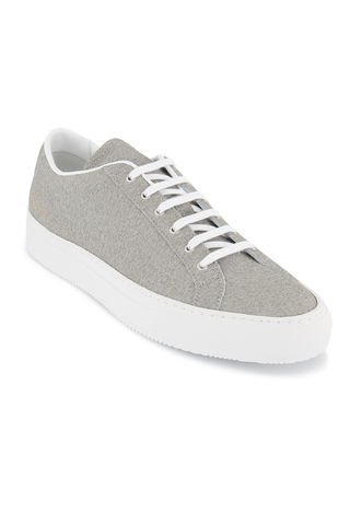Front angled view image of Common Projects Men's Achilles Premium Sneaker Grey