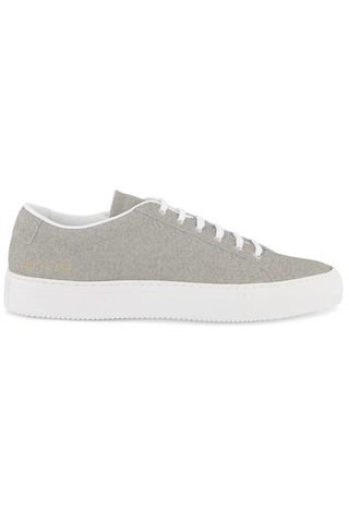 Side view image of Common Projects Men's Achilles Premium Sneaker Grey