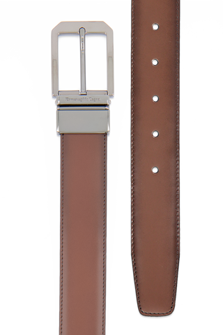 Hand-Buffed Smooth Calfskin Belt Chestnut