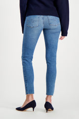 Back Crop Image Of Model Wearing AG Women's Farrah Skinny Ankle Jeans Precision