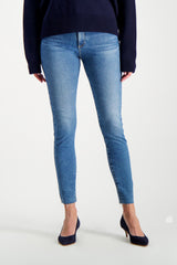 Front Crop Image Of Model Wearing AG Women's Farrah Skinny Ankle Jeans Precision