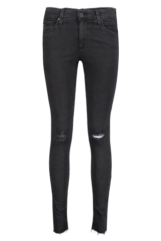 Front view image of AG Women's Farrah Skinny Altered Black Destructed