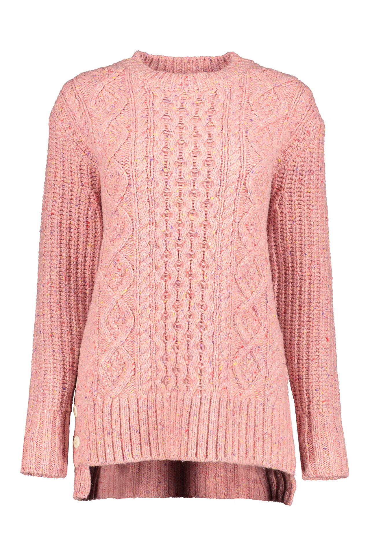 Front view image of Alex Mill Women's Button Side Aran Sweater