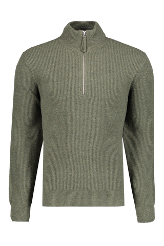 Front Image Of Image Of Alex Mill Men's Extra Fine Merino Half Zip Sweater Olive