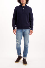 Full Body Image Of Model Wearing Alex Mill Men's Extra Fine Merino Half Zip Sweater Navy