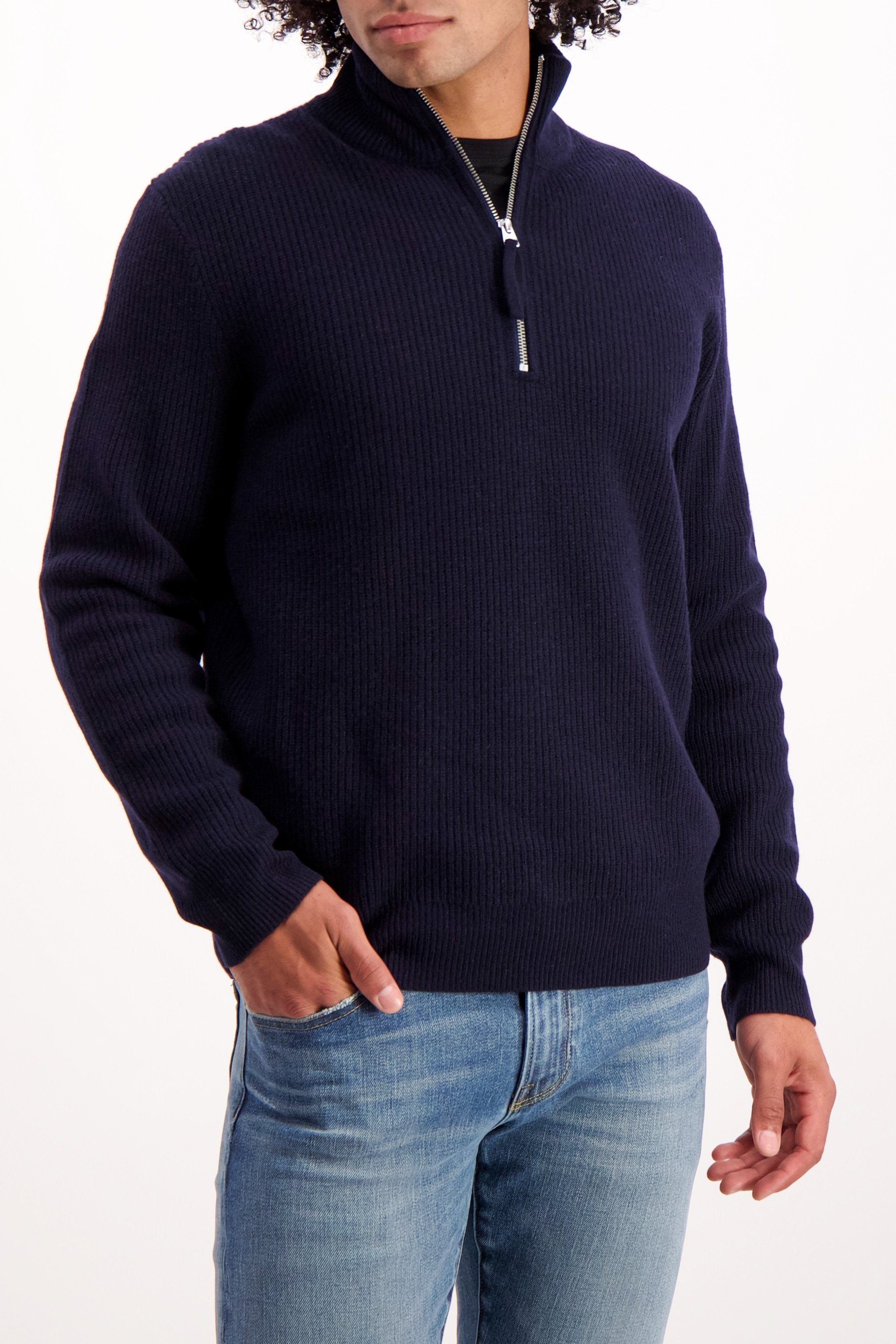 Front Crop Image Of Model Wearing Alex Mill Men's Extra Fine Merino Half Zip Sweater Navy