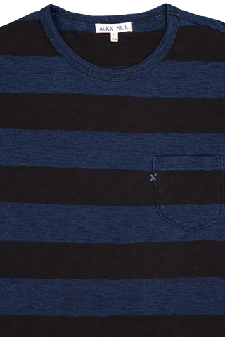 Men's Indigo Wide Stripe Pocket Tee Indigo/Black