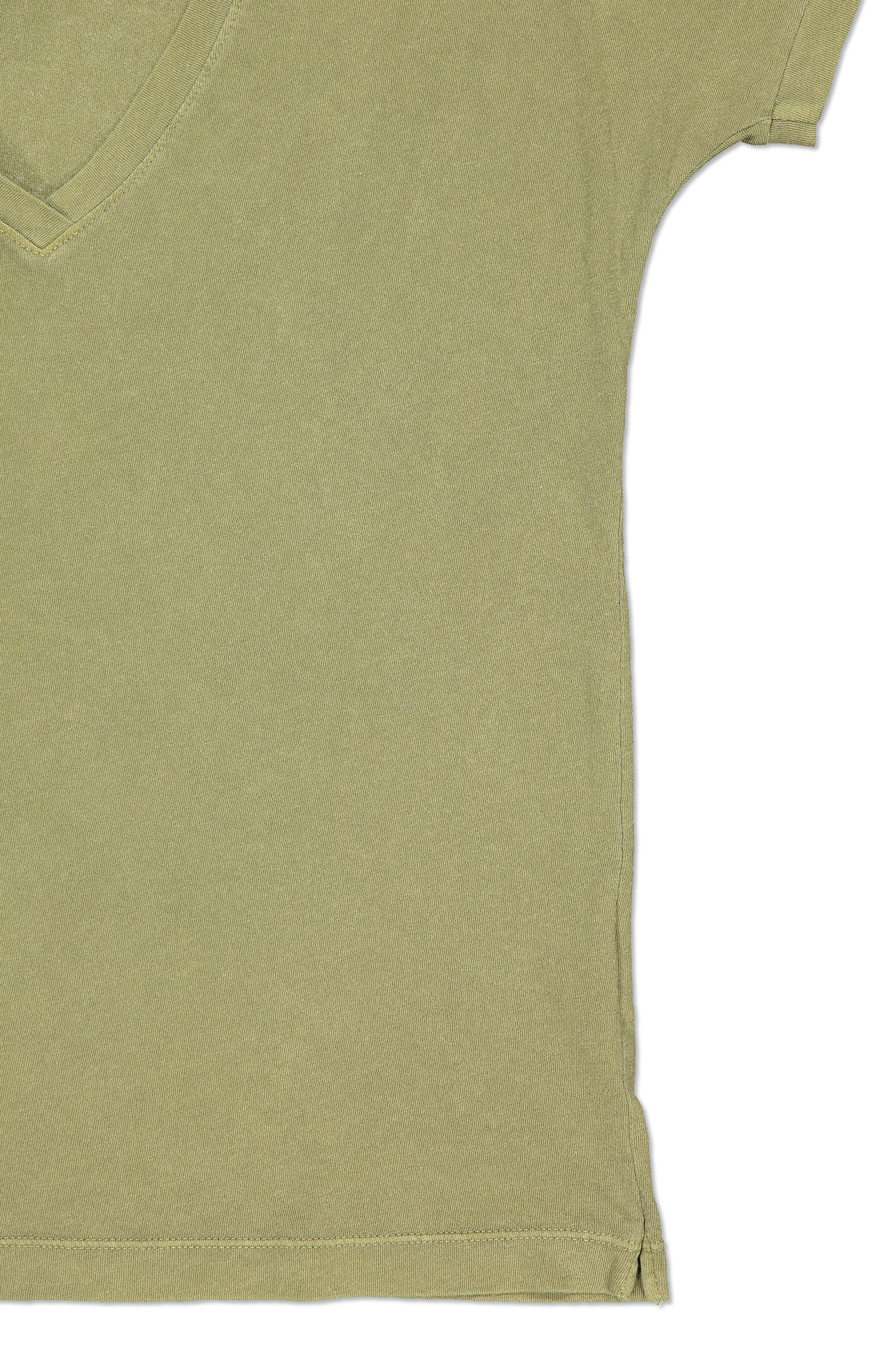 Side seam and Short sleeve detail image of Alex Mill Women's Laundered Cotton V-Neck Tee Army Olive