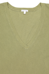 Neckline detail image of Alex Mill Women's Laundered Cotton V-Neck Tee Army Olive